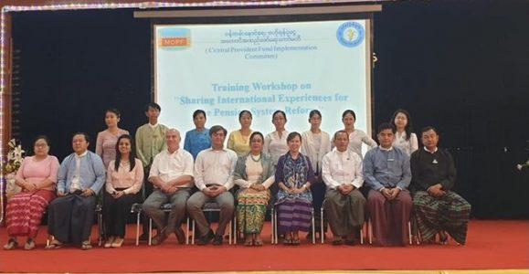 World bank  နှင့်ပင်စင်ဦးစီးဌာနတို့ပူးပေါင်းပြီး Training Workshop on Sharing International Experiences for the Pension System Reform အားရုံးအမှတ်(၃၄)အစည်းအဝေးခန်းမတွင် ကျင်းပခဲ့ပါသည်။ CPF Implementation Committee နှင့် Sub committee members များ         တက်ရောက်ခဲ့ပါသည်။